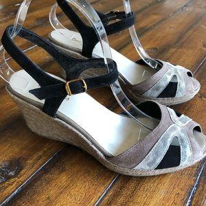 Toni Pons Black and Tan Espadrille Wedge Sandal